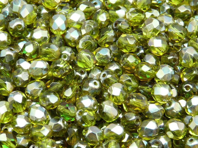 50 pcs Fire Polished Faceted Beads Round, 6mm, Olivine Celsian, Czech Glass
