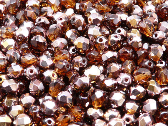 50 pcs Fire Polished Faceted Beads Round, 6mm, Dark Topaz Capri Gold, Czech Glass