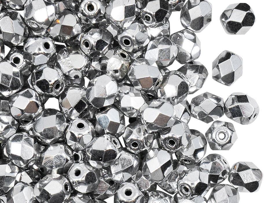 50 pcs Fire Polished Faceted Beads Round, 6mm, Crystal Full Labrador (Silver Metallic), Czech Glass