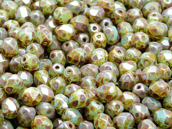 50 pcs Fire Polished Faceted Beads Round, 6mm, Green Aqua Opal Travertine, Czech Glass