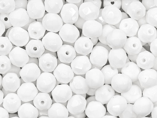 50 pcs Fire Polished Faceted Beads Round, 6mm, Chalk White, Czech Glass