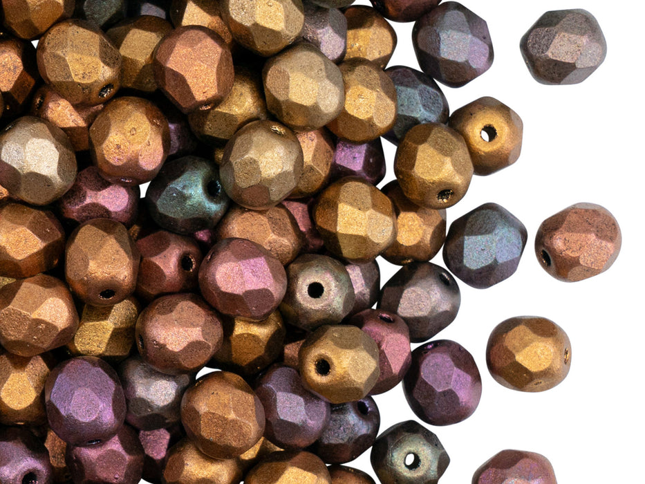 50 pcs Fire Polished Faceted Beads Round, 6mm, Silky Violet Rainbow, Czech Glass