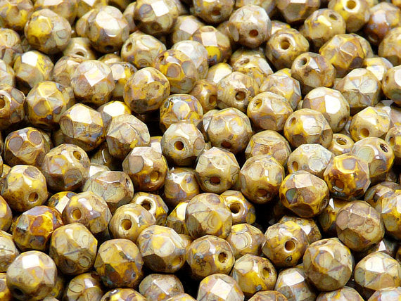 50 pcs Fire Polished Faceted Beads Round, 6mm, Yellow Opaque Travertine (Lemon Travertine), Czech Glass