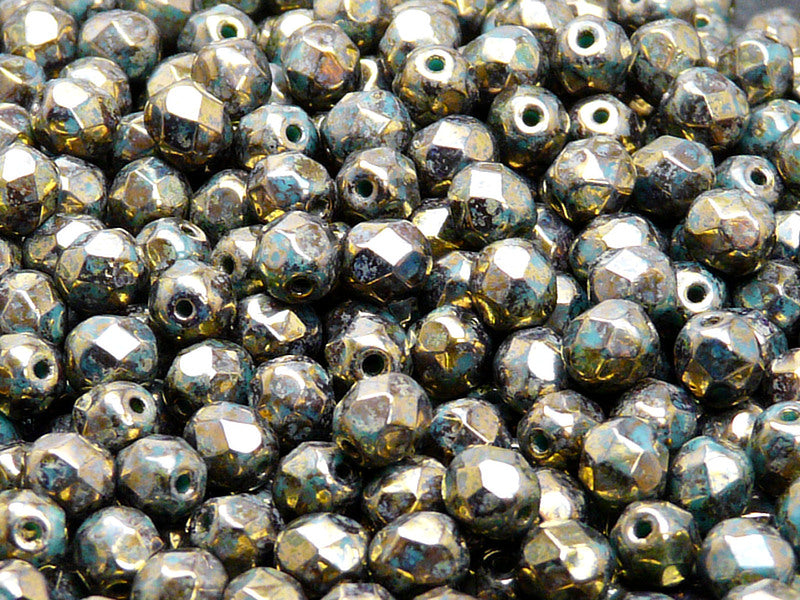 50 pcs Fire Polished Faceted Beads Round, 6mm, Opaque Turquoise Green Sprayed Gold, Czech Glass