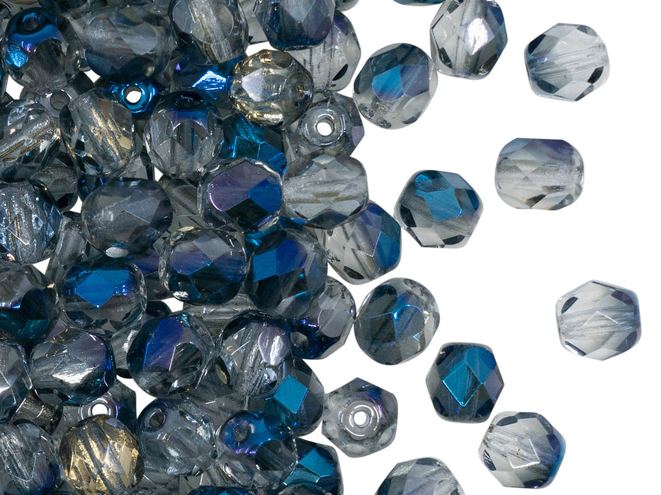 50 pcs Fire Polished Faceted Beads Round, 6mm, Crystal Blue Flare, Czech Glass