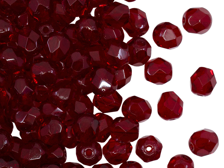 50 pcs Fire Polished Faceted Beads Round, 6mm, Dark Ruby (Garnet), Czech Glass