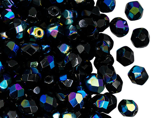 Fire Polished Faceted Beads Round 6 mm, Jet Black AB, Czech Glass