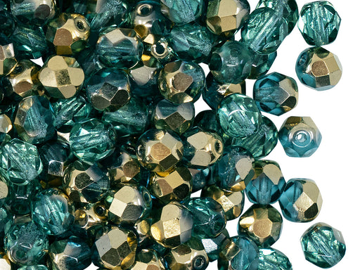 50 pcs Fire Polished Faceted Beads Round 6 mm, Crystal Aquamarine Amber, Czech Glass