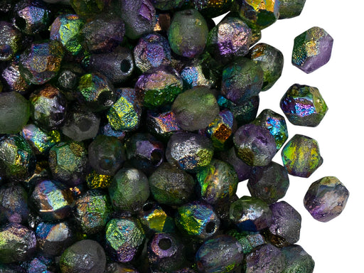 50 pcs Fire Polished Beads 6 mm, Crystal Etched Magic Orchid, Czech Glass
