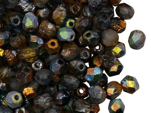 50 pcs Fire Polished Beads 6 mm, Crystal Etched Magic Copper, Czech Glass