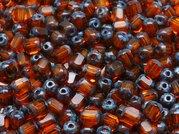 50 pcs Cathedral Fire Polished Faceted Beads, 6mm, Hyacinth Travertine Ends, Czech Glass