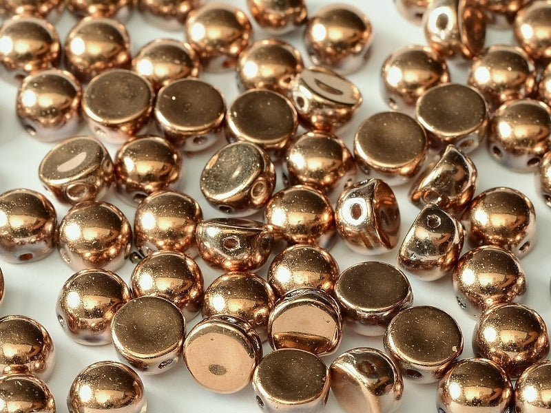 25 pcs 2-hole Cabochon Pressed Beads, 6mm, Crystal Full Capri Gold, Czech Glass