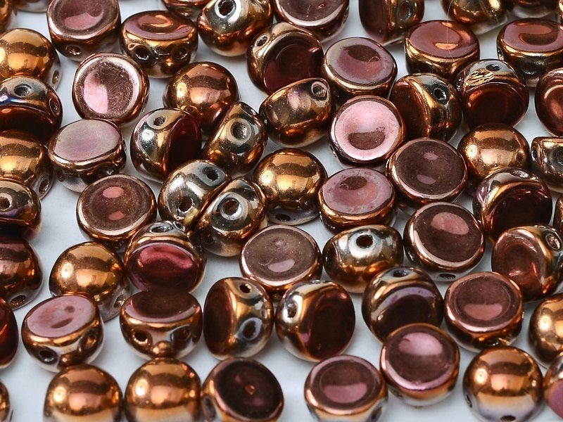 25 pcs 2-hole Cabochon Pressed Beads, 6mm, Crystal Full Capri Rose, Czech Glass