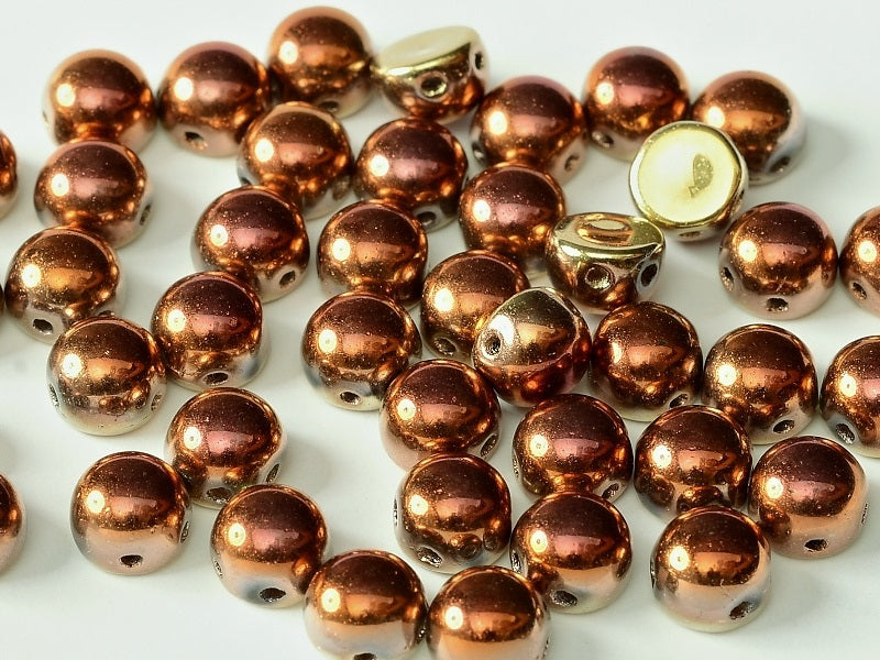 25 pcs 2-hole Cabochon Pressed Beads, 6mm, Crystal California Gold Rush, Czech Glass