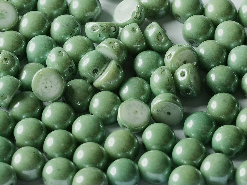 25 pcs 2-hole Cabochon Pressed Beads, 6mm, Chalk White Teal Luster, Czech Glass