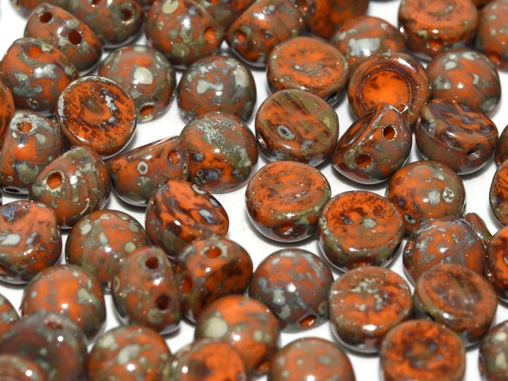25 pcs 2-hole Cabochon Pressed Beads, 6mm, Opaque Hyacinth Picasso (Opaque Red Orange Picasso), Czech Glass