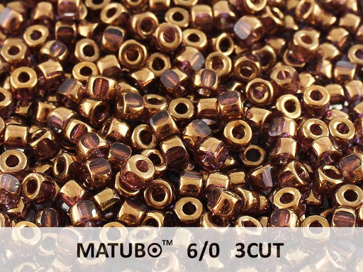 10 g 6/0 3-Cut Seed Beads MATUBO, Crystal Gold Bronze (Gold Bronze 24 Carat), Czech Glass