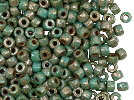 10 g 6/0 3-Cut Seed Beads MATUBO, Turquoise Green Picasso, Czech Glass
