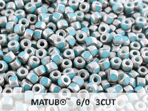 10 g 6/0 3-Cut Seed Beads MATUBO, Turquoise Blue Old Silver Matte, Czech Glass