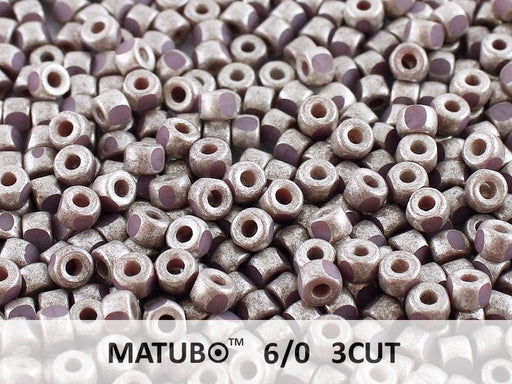 10 g 6/0 3-Cut Seed Beads MATUBO, Purple Violet Old Silver Matte, Czech Glass