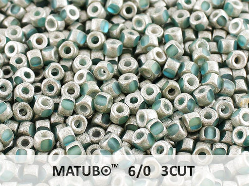 10 g 6/0 3-Cut Seed Beads MATUBO, Aquamarine Old Silver Matte, Czech Glass