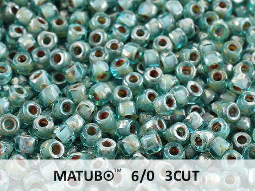 10 g 6/0 3-Cut Seed Beads MATUBO, Aquamarine Picasso, Czech Glass