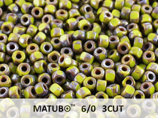 10 g 6/0 3-Cut Seed Beads MATUBO, Opaque Green Picasso, Czech Glass