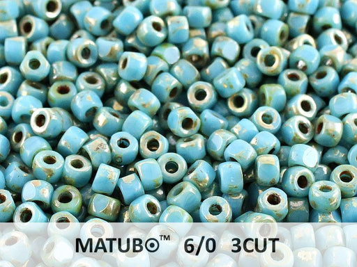 10 g 6/0 3-Cut Seed Beads MATUBO, Turquoise Blue Picasso, Czech Glass