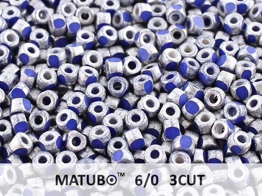 10 g 6/0 3-Cut Seed Beads MATUBO, Opaque Sapphire Old Silver Matte, Czech Glass