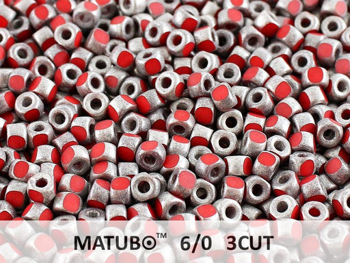 10 g 6/0 3-Cut Seed Beads MATUBO, Opaque Coral Old Silver Matte, Czech Glass