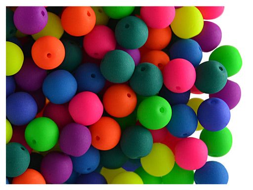 50 pcs Round NEON ESTRELA Beads, 6mm, Mix, Czech Glass