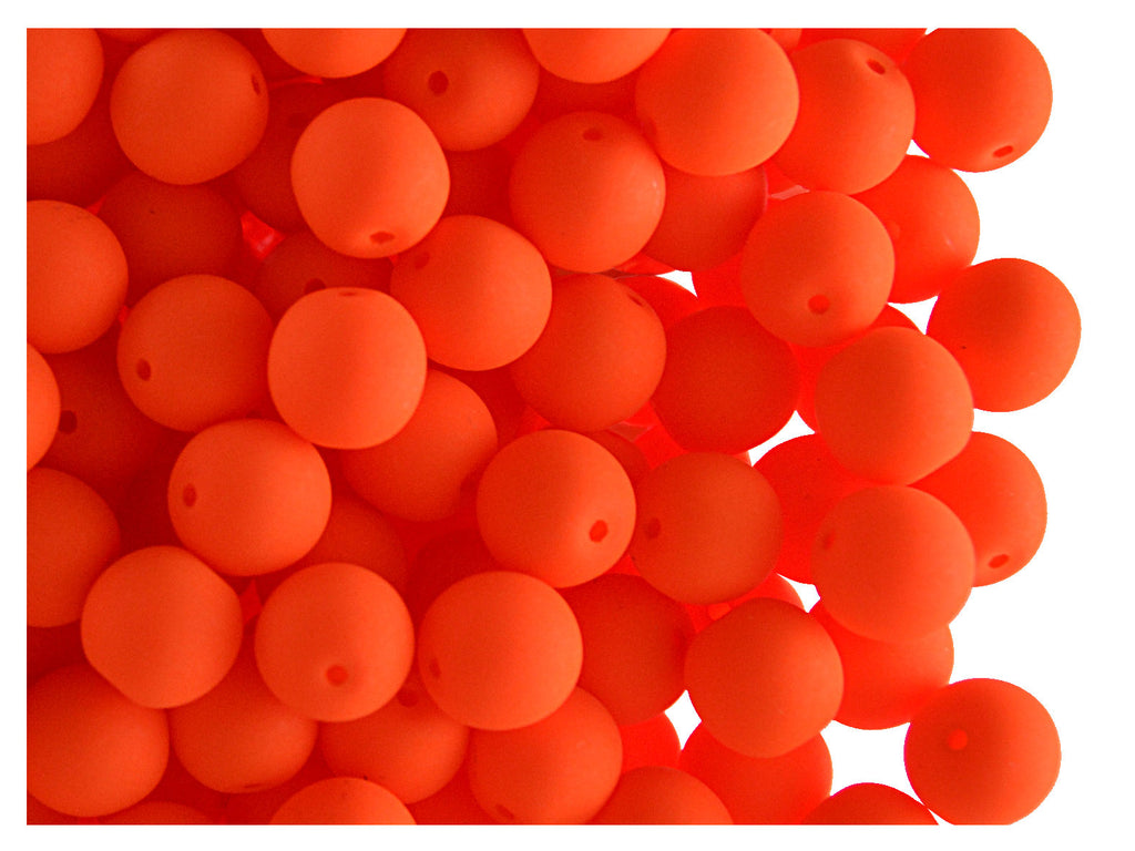 Round NEON ESTRELA Beads, 6mm, Orange, Czech Glass