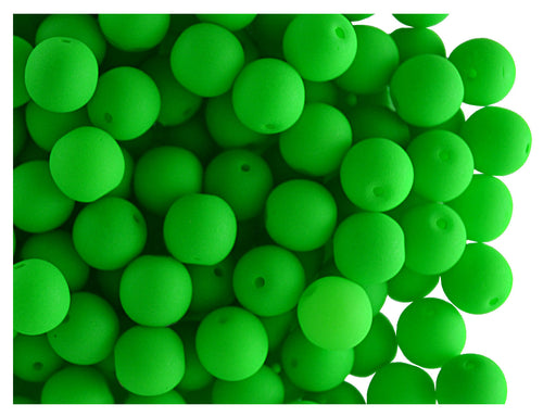 50 pcs Round NEON ESTRELA Beads, 6mm, Green, Czech Glass