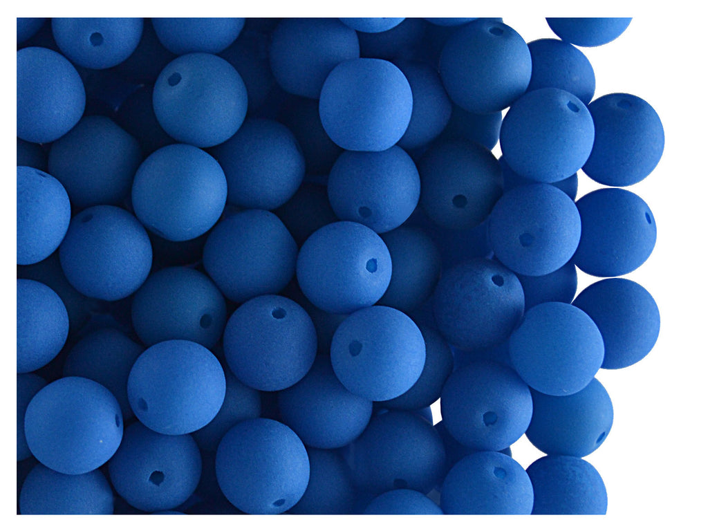 Round NEON ESTRELA Beads, 6mm, Blue, Czech Glass