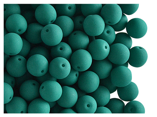 50 pcs Round NEON ESTRELA Beads, 6mm, Emerald Green, Czech Glass