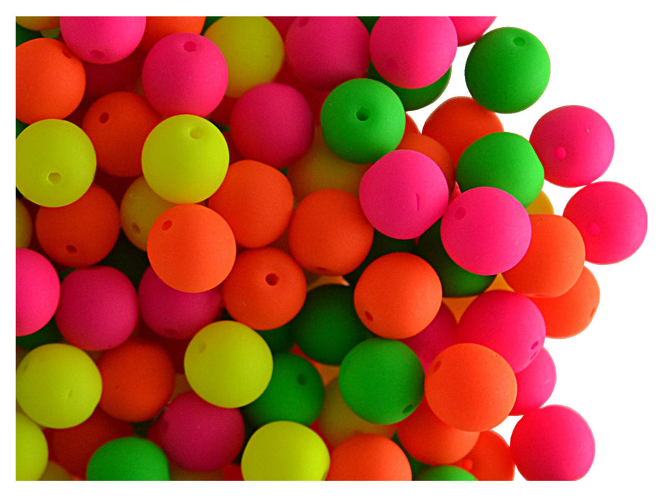 50 pcs Round NEON ESTRELA Beads, 6mm, Warm Mix, Czech Glass