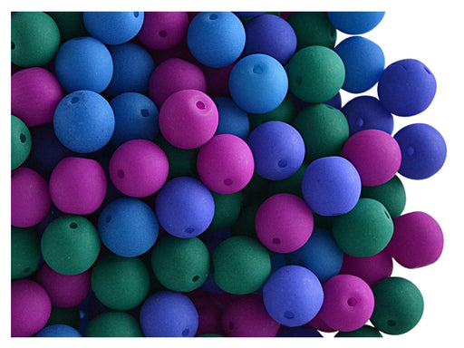 50 pcs Round NEON ESTRELA Beads, 6mm, Dark NEON Mix, Czech Glass