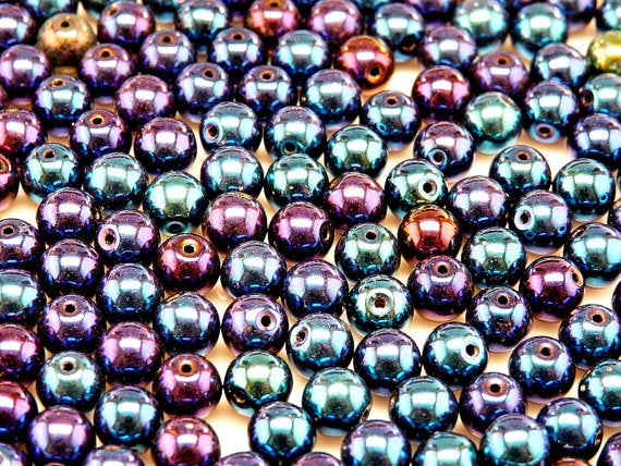 Round Pressed Beads, 6mm, Jet Blue Iris, Czech Glass