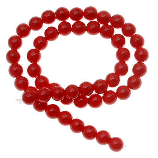50 pcs Round Pressed Beads, 6mm, Coral Red, Czech Glass