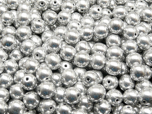 50 pcs Round Pressed Beads, 6mm, Crystal Full Labrador (Silver Metallic), Czech Glass