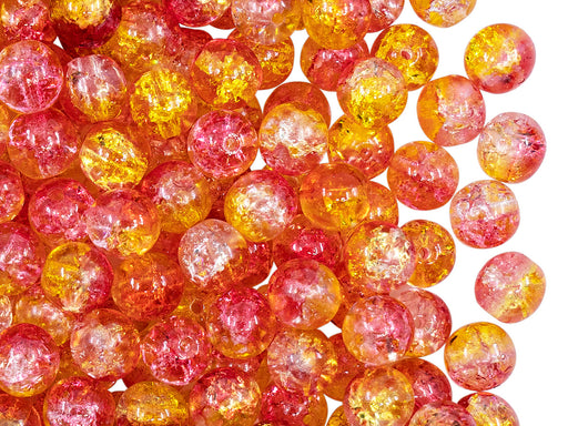 50 pcs Cracked Round Beads 6 mm, Crystal Orange-Yellow Two Tone Luster, Czech Glass
