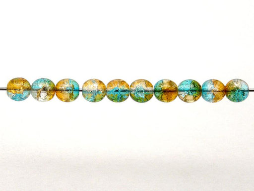 50 pcs Cracked Round Beads 6 mm, Crystal Orange Aqua Blue Two Tone Luster, Czech Glass