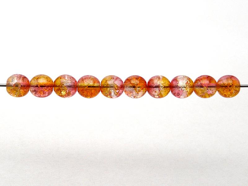 50 pcs Cracked Round Beads 6 mm, Crystal Red Orange Two Tone Luster, Czech Glass