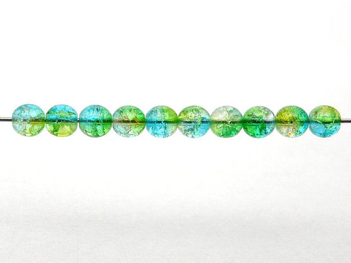 50 pcs Cracked Round Beads 6 mm, Crystal Green Aqua Blue Two Tone Luster, Czech Glass