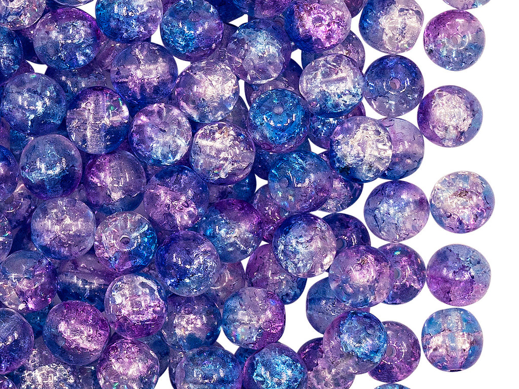 50 pcs Cracked Round Beads 6 mm, Crystal Aqua Blue Violet Two Tone Luster, Czech Glass