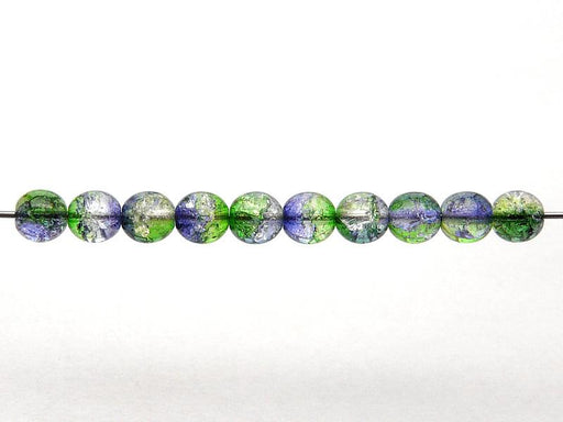 50 pcs Cracked Round Beads 6 mm, Crystal Green Cobalt Two Tone Luster, Czech Glass