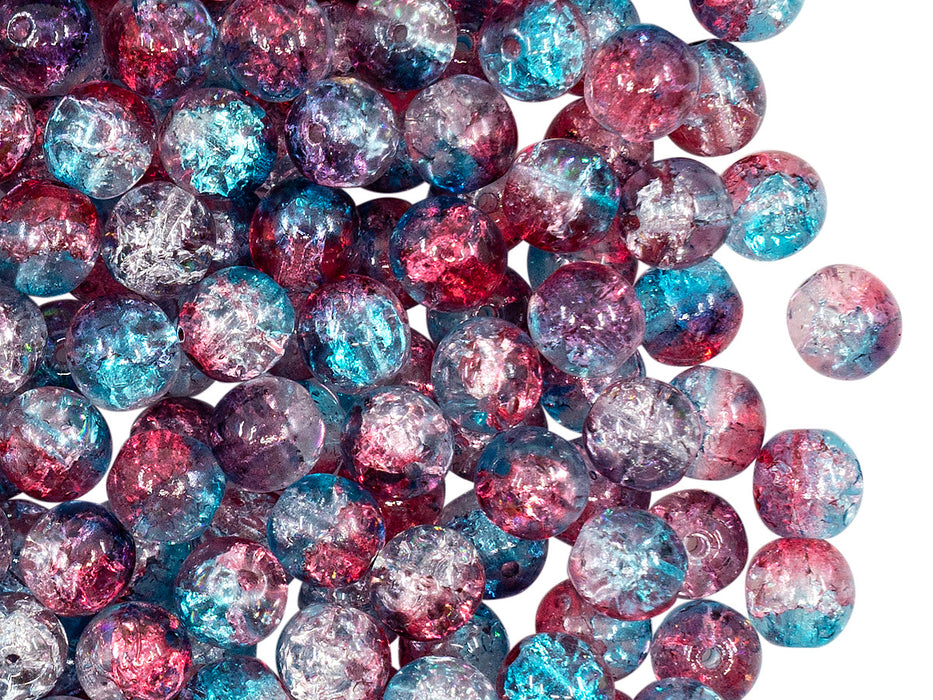 50 pcs Cracked Round Beads 6 mm, Crystal Red Aqua Blue Two Tone Luster, Czech Glass