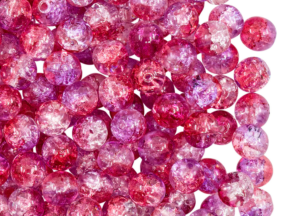 50 pcs Cracked Round Beads 6 mm, Crystal Red Violet Two Tone Luster, Czech Glass