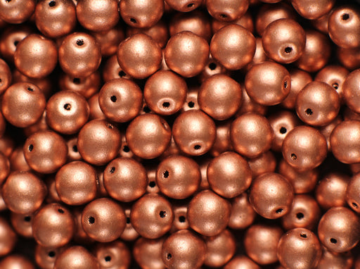 50 pcs Round Pressed Beads, 6mm, Crystal Bronze Copper, Czech Glass