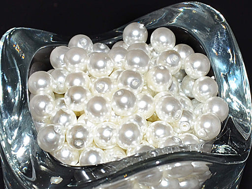 50 pcs Round Pearl Beads, 6mm, White Pearl, Czech Glass